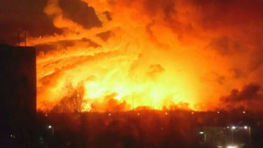 Fire rages at a military ammunition depot in Balaklia near Khrakiv in Ukraine .