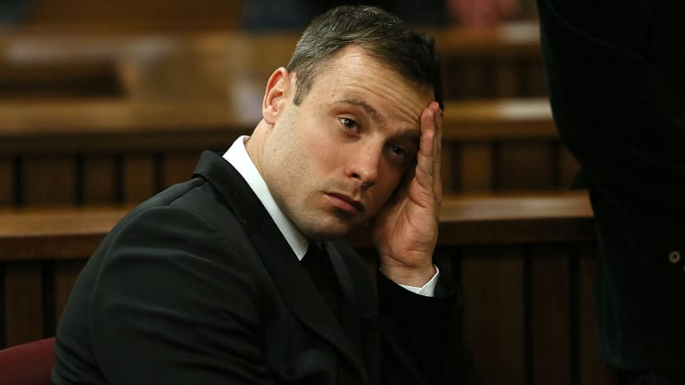Oscar Pistorius At The End Of The Fourth Day Of His Previous Sentencing Proceedings