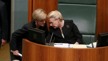 Foreign Affairs Minister Julie Bishop in discussion with Speaker Bronwyn Bishop. They might share a surname but demonstrate different ways of dealing with problems.