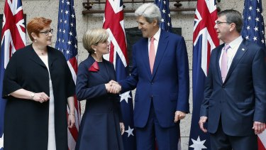 Payne with (from left) Foreign Affairs Minister Julie Bishop, US Secretary of State John Kerry and US Defence Secretary Ash Carter in Boston in October.