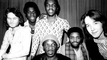 Clem Curtis (centre front) was the only original member of the Foundations when they toured Australia in 1975.