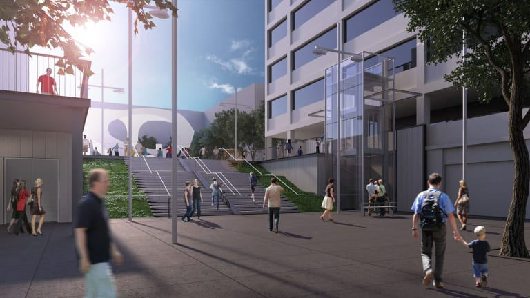 An artist's impression of the upgraded Woden bus interchange, including new stairs and lift.
