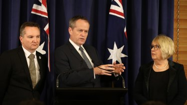 Opposition Leader Bill Shorten announces Labor's plans to oppose the government's changes to family payment, along with shadow treasurer Chris Bowen and opposition spokeswoman for families and payments, Jenny Macklin.