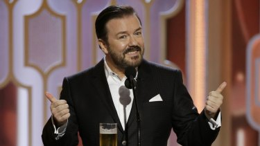 Ricky Gervais at the 73rd Annual Golden Globe Awards at the Beverly Hilton Hotel in California. He's helped turn the awards night into a celebrity roast.