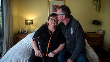 Julie Davey and her husband Peter were left in dire straits when his carer's payments from Centrelink were cut off abruptly.