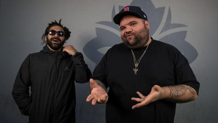 Australian Hiphop duo A.B. Original after winning the AMP (Australian music prize). They are Trials a Ngarrindjeri man and Briggs a Yorta Yorta man.