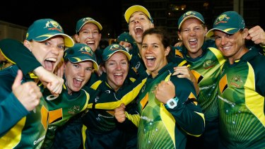 Southern Stars celebrate their win over England.