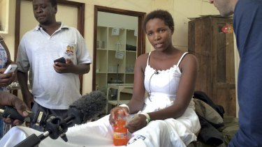 Cynthia Cheroitich, 19, a survivor of the attack on Garissa University College who was found on Saturday two days after the attack.
