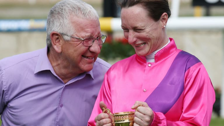 Ken Keys and Linda Meech celebrate Like A Carousel's win Pakenham Cup win.