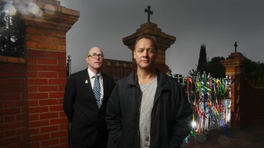 Ballarat's St Patrick's college headmaster John Crowley with former student Peter Blenkiron. Blenkiron survived years of sexual abuse while a pupil at the Catholic school.