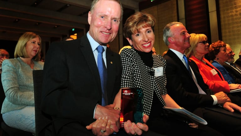 David Morrison with his wife Gayle at the 2016 ACT Australian of the Year awards ceremony, where he was announced the 2016 ACT Australian of the Year.
