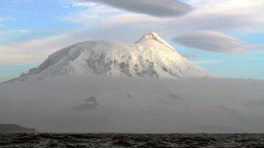 The summit, Mawson Peak, of Big Ben volcano on Heard Island.