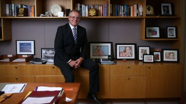 Social Services Minister Scott Morrison in his office at Parliament House.