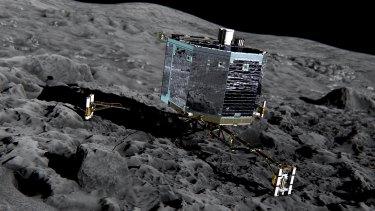 An artist's impression of Rosetta's lander, Philae, on the comet 67P/Churyumov-Gerasimenko.