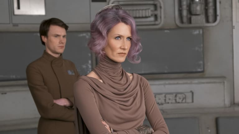 Laura Dern, right,  as Vice Admiral Holdo in Star Wars: The Last Jedi.
