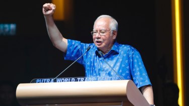 Malaysian Prime Minister Najib Razak speaks at a National Front coalition rally on January 3.