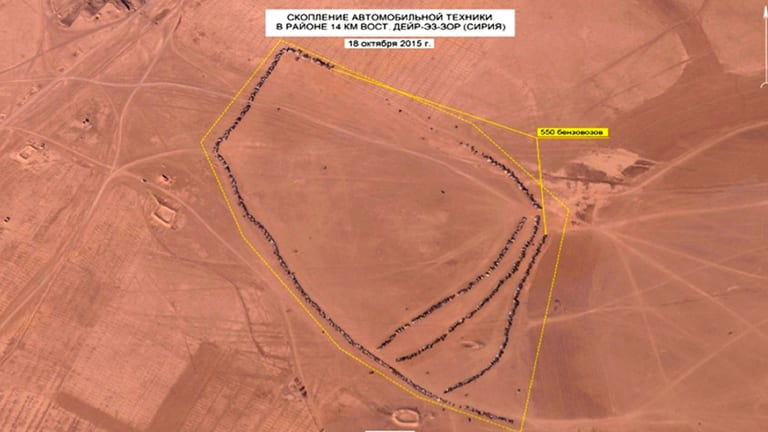 This photo, made from video taken from the Russian Defense Ministry web site, is an aerial image of the area east of Dayr-az-Zawr, Syria.