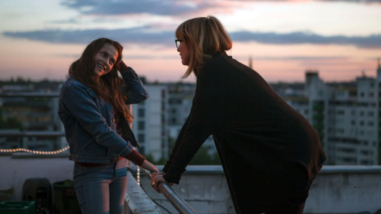 Shortland directs Palmer on a Berlin rooftop.