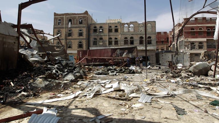 This food storage warehouse was destroyed by a Saudi-led air strike on Sanaa, Yemen in October.