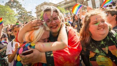Thousands of Melbournians turned out to celebrate the 'Yes' vote.