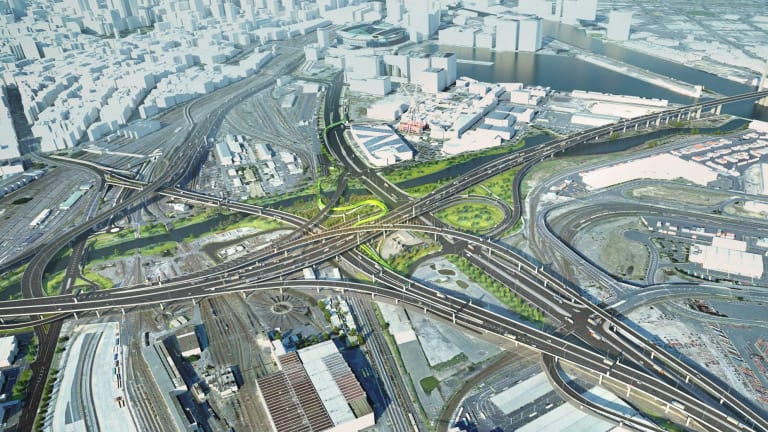 An aerial artist's impression of the proposed series of flyovers to be built as part of the West Gate Tunnel.