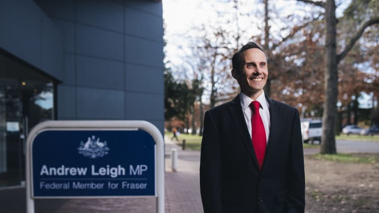 Andrew Leigh outside his Braddon office, which he will be forced to vacate within months as it now sits 600 metres south of his re-drawn Fenner electorate.