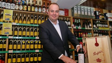 Peter Dixon of Treasury Wine Estates with Australian wines at Jenny Lou's Shop in Beijing.