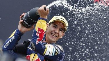 Luis Salom celebrates a Moto3 victory at the Dutch Grand Prix in Assen.