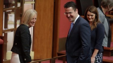 Labor Senator Katy Gallagher and Liberal Senator Zed Seselja - the Liberals are bringing the ACT tram into play in the federal election.