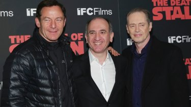 Actor Jason Isaacs (left), director Armando Iannucci and actor Steve Buscemi on the promotional trail for <i>The Death of Stalin</I>.