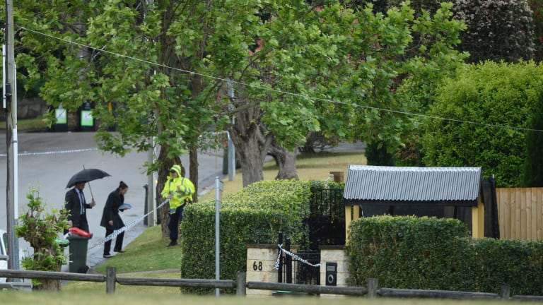 Police arrive at the house in Davidson in Sydney's north following the discovery of the four bodies.