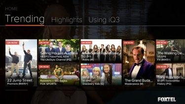 Foxtel iQ3's user interface.