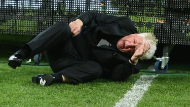 Big fall: FFA chairman Frank Lowy hits the turf at AAMI Park in Melbourne.