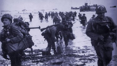 US soldiers landing at Normandy on June 6, 1944.