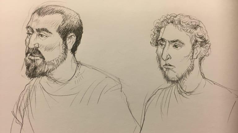 Court sketches of Hamza Abbas, left, and Ahmed Mohamed. Illustration: Joe Benke