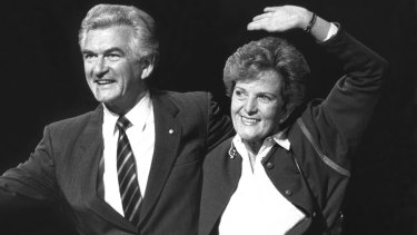 The way they were: Prime Minister Bob Hawke with wife, Hazel, at the Labor Party campaign launch and policy speech at the Sydney Opera House in June 1987.