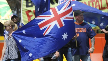 Reclaim Australia demonstrates on Parliament House Lawns.