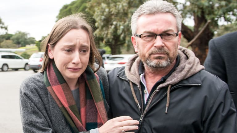 Borce Ristevski, with his daughter, Sarah, speaking to the media last year