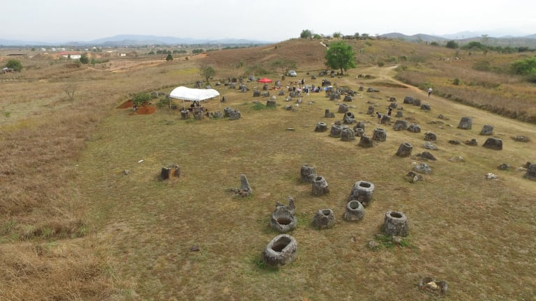 The Plain of Jars archaeological site in Laos where ANU researchers are using new technologies to study the site remotely.
