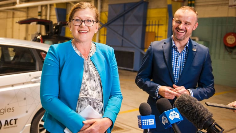 Co-chair of the Seeing Machines Research Initiative Kate Lundy with ACT Chief Minister Andrew Barr at the launch of the trial in 2017.