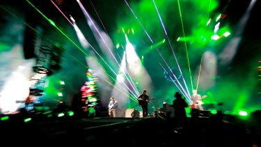 Money spinner: Coldplay perform at Allianz Stadium.