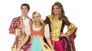 Wicked role: Gina Liano (right) with Cinderella and the Prince. She turned down the fairy godmother part because it involved singing.