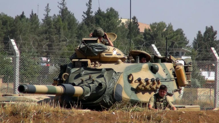 A Turkish army tank stationed near the Syrian border in Suruc earlier this month.