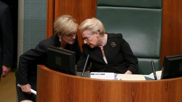 Foreign Minister Julie Bishop has said Speaker Bronwyn Bishop is 'considering her position'.