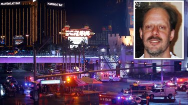 Stephen Paddock (inset) set up cameras up in his room in the Mandalay Bay hotel, police said.