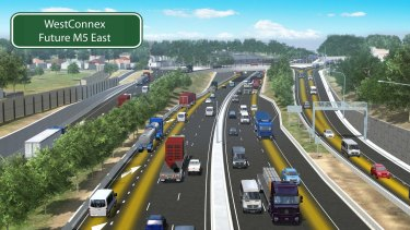 An artist's impression of part of the WestConnex project.
