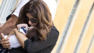 Public relations expert Francesca Chaouqui with her newly born son Pietro on Monday.