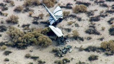 The wreckage of SpaceShipTwo.