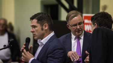 Jim Casey (left), the Greens' candidate for Grayndler, and Labor frontbencher Anthony Albanese at a forum in Balmain this month.