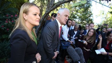 Prime Minister Malcolm Turnbull with Liberal candidate Fiona Scott in Sydney on Wednesday.
